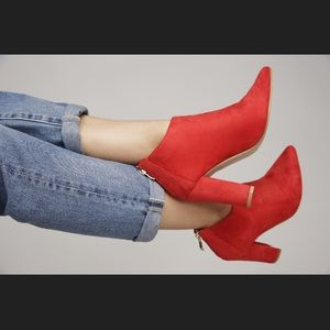 Shoes - Red suede booties